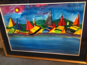 "James Litz, Acrylic, ""Sailboats on Ocean Coast"", 20"" x 29"""
