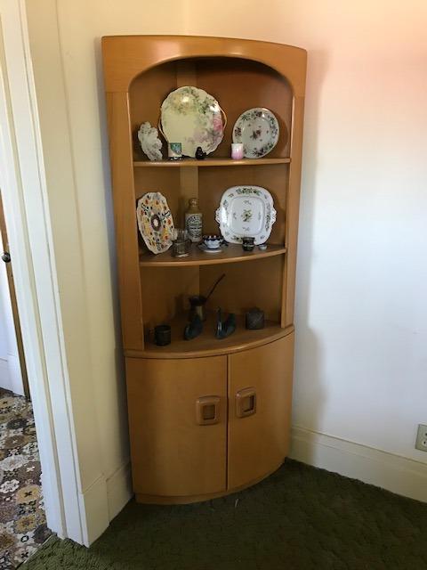Heywood Wakefield corner china cabinet